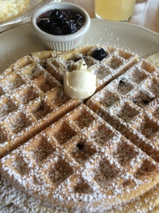 Blueberry Waffle with Fresh Blueberry Compote